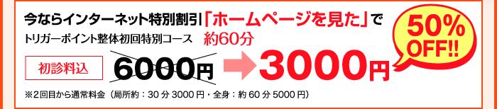 インターネット特別割引「ホームページを見た」でトリガーポイント整体初回特別コース 約60分、初診料込 6000円⇒3000円